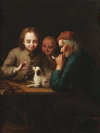 bäuerliches paar (+ die hündchendressur; pair) by johann christian fiedler