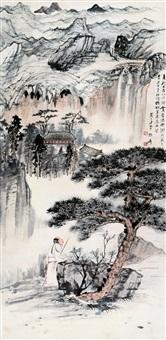 石梁观瀑图 by zhang daqian