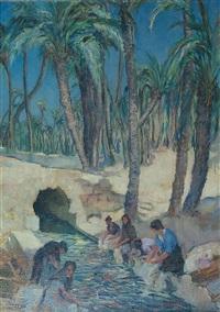 wäscherinnen unter palmen by wilhelm hempfing