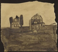 untitled (houses in landscape) by james castle