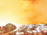 ohne titel (steinige küste mit liegender nymphe im abendlicht) by heinz zander