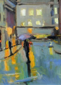 empty street (+ wet evening, study, lrgr; 2 works) by paul bassingthwaighte