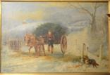 boy with a donkey cart in a winter landscape by wilson hepple