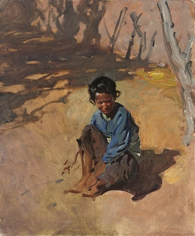 a child sitting in the sun by terence cuneo