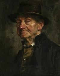 brustbild eines kritisch schauenden, älteren herrn in tracht by hans best