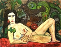 reclining female nude with a bird by samir rafi