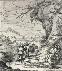 travellers on a road in a hilly landscape by zacharias blyhooft
