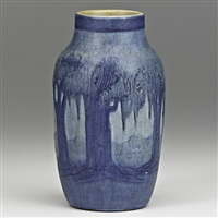 vase crisply carved with live oaks, spanish moss and full moon by anna frances connor simpson