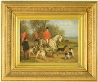 the fox hunt with riders and dogs by edward benjamin herberte