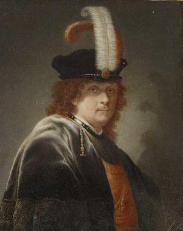 bildnis eines herrn mit federgeschmücktem barett by joseph kaltner