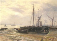 fisherfolk and beached fishing vessels on the shore of an estuary by martin snape