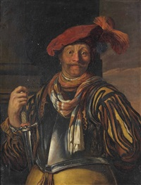 portrait of a gentleman, three-quarter-length, in armour and a red plumed cap, a sword in his right hand by frans van mieris