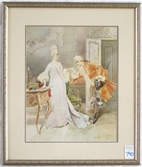 parisian courting scene in a richly decorated interior by r. m. la monaca