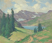 mountain landscape with ranch houses across lake by frank charles peyraud