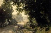 gebirgsstrasße mit bauernfamilie im schatten von bäumen by alfred (wilhelm) metzener