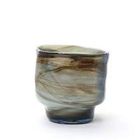four-sided lava vase of green, blue and brown by per lutken