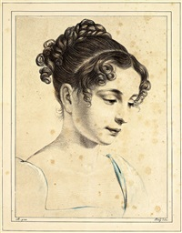 prinzessin amalie auguste von bayern (from les oeuvres lithographiques) by ferdinand piloty the elder
