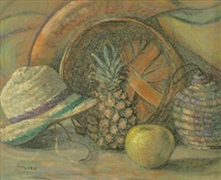 still-life with fruit, hat and basket; basket (2 works) by amanda tester snyder