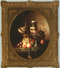 still life with exotic vessels, grapes, peaches, and plums by jean laurent