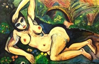 reclining female nude in a garden by samir rafi
