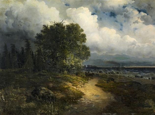 uferlandschaft am genfersee (vom nordufer aus gesehen) bei aufziehendem gewitter by alexandre calame