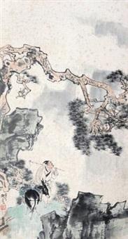 李时珍采药图 立轴 设色纸本 by liu danzhai