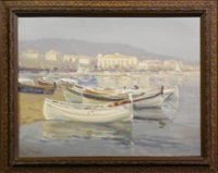beached fishing boats near cannes, coastal landscape and italian lakeland view (3 works) by augustus william enness