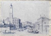 blick vom canal grande auf die kirche san geremia und den canale di cannaregio. blick vom canal grande auf die ponte di rialto und den palazzo dei camerlenghi (pair) by anonymous-italian (18)