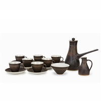 line scraping coffee set: pot, milk jar, sugar jar, 7 coffe cups and saucers (10 works) by lucie rie and hans coper