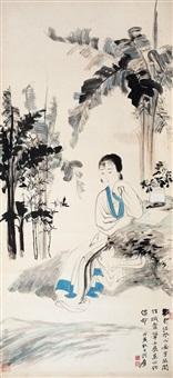芭蕉仕女 by zhang daqian