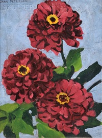 red zinnias by jane peterson