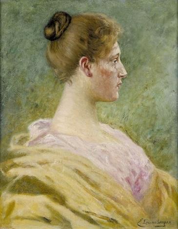 porträt einer eleganten dame by ernst otto leuenberger