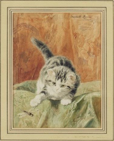 katt lekandes med trollslända by henriette ronner knip