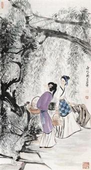 浣溪纱 镜片 设色纸本 by liu danzhai