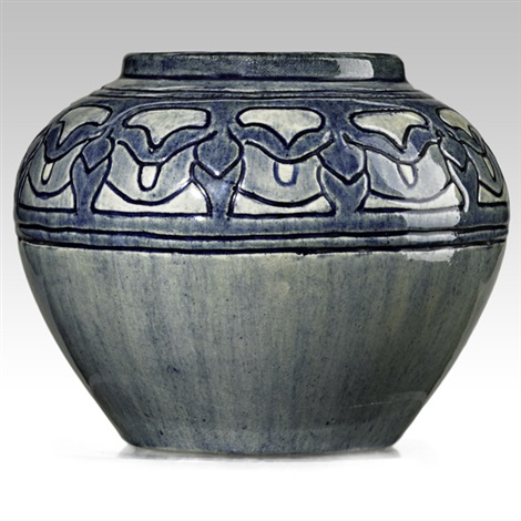 early vase incised with blossoms by newcomb college pottery
