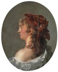 porträt einer jungen dame mit rotem, perlenbesetztem kopftuch im profil by anna dorothea lisiewski