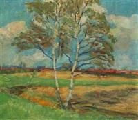 landscape with a birch, in the background a town by erik staehr-nielsen