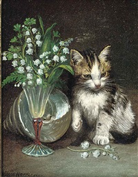 a kitten with a shell and flowers in a glass vase by wilson hepple