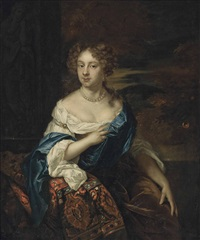 portrait of a lady, three-quarter-length, in a white dress and a blue wrap, seated beside a sculpture, a wooded landscape beyond by constantyn netscher