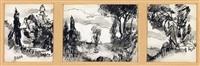 paesaggi (triptych) by giacomo balla