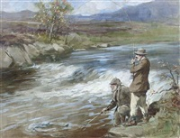 landing a salmon by george denholm armour