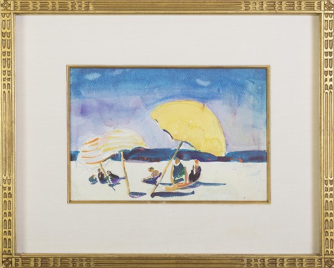 beach umbrellas and blue sky by jane peterson
