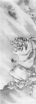brüllender tiger an einem felsen im regen by kishi ganryo