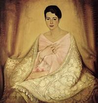 portrait einer jungen, hübschen frau mit dunklem haar und blauen augen; mit perlkette, armband und ringen by august rumm