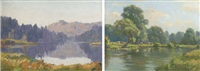 summer on the river (+ lake landscape; 2 works) by augustus william enness
