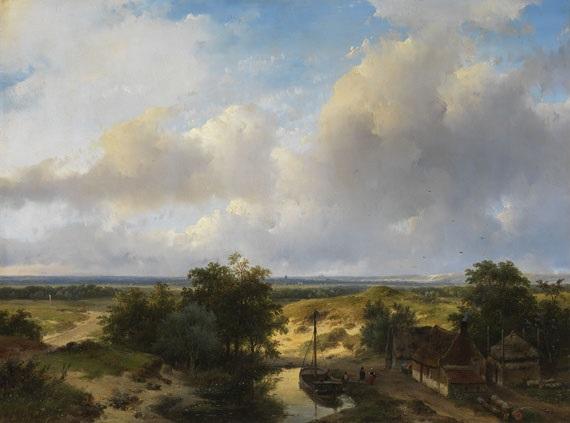 holländische landschaft mit blick auf haarlem by andreas schelfhout