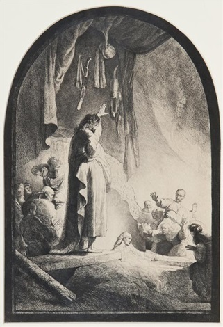 the raising of lazarus the larger plate by rembrandt van rijn