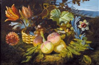 stillleben mit früchten, blumen und stieglitz by jan van gelder