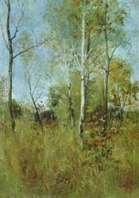 frühherbstliche landschaft mit birken und buschwerk by arthur langhammer
