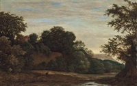 a wooded river landscape with a hunter and his dog, on a track, a wall beyond by cornelis hendriksz vroom